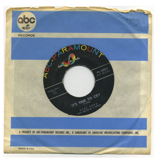 Paul Anka 45 RPM It's Time to Cry