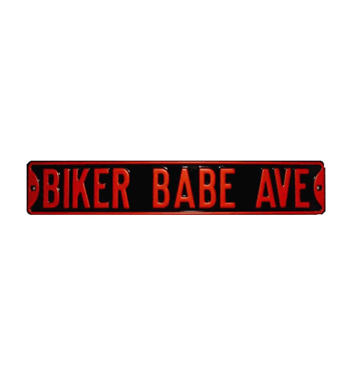 Biker Babe Ave. Heavy Duty Metalen Straat Bord