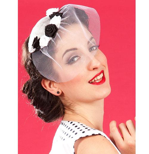 Blanche Lou Fascinator, White and Black