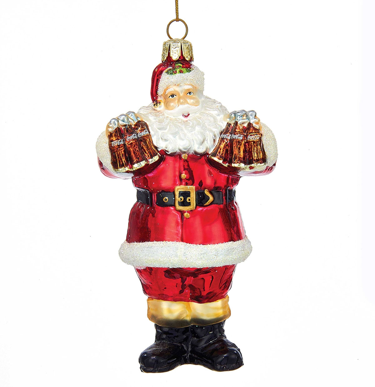 Coca-Cola Glass Santa Claus Christmas Ornament Collectibles