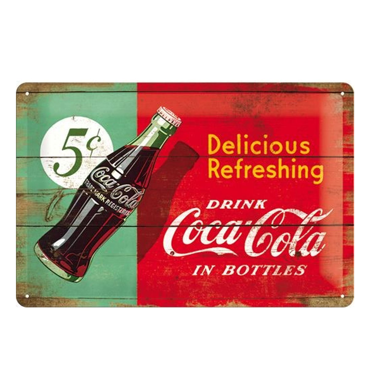 Metal Sign 'Drink Coca-Cola in Bottles' Wood Look 20 x 30 cm