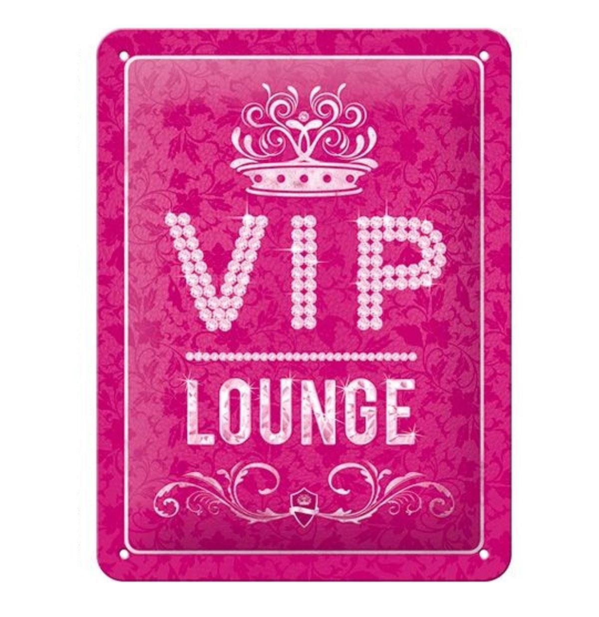 Metal Sign 'VIP Lounge' Pink 15 x 20 cm