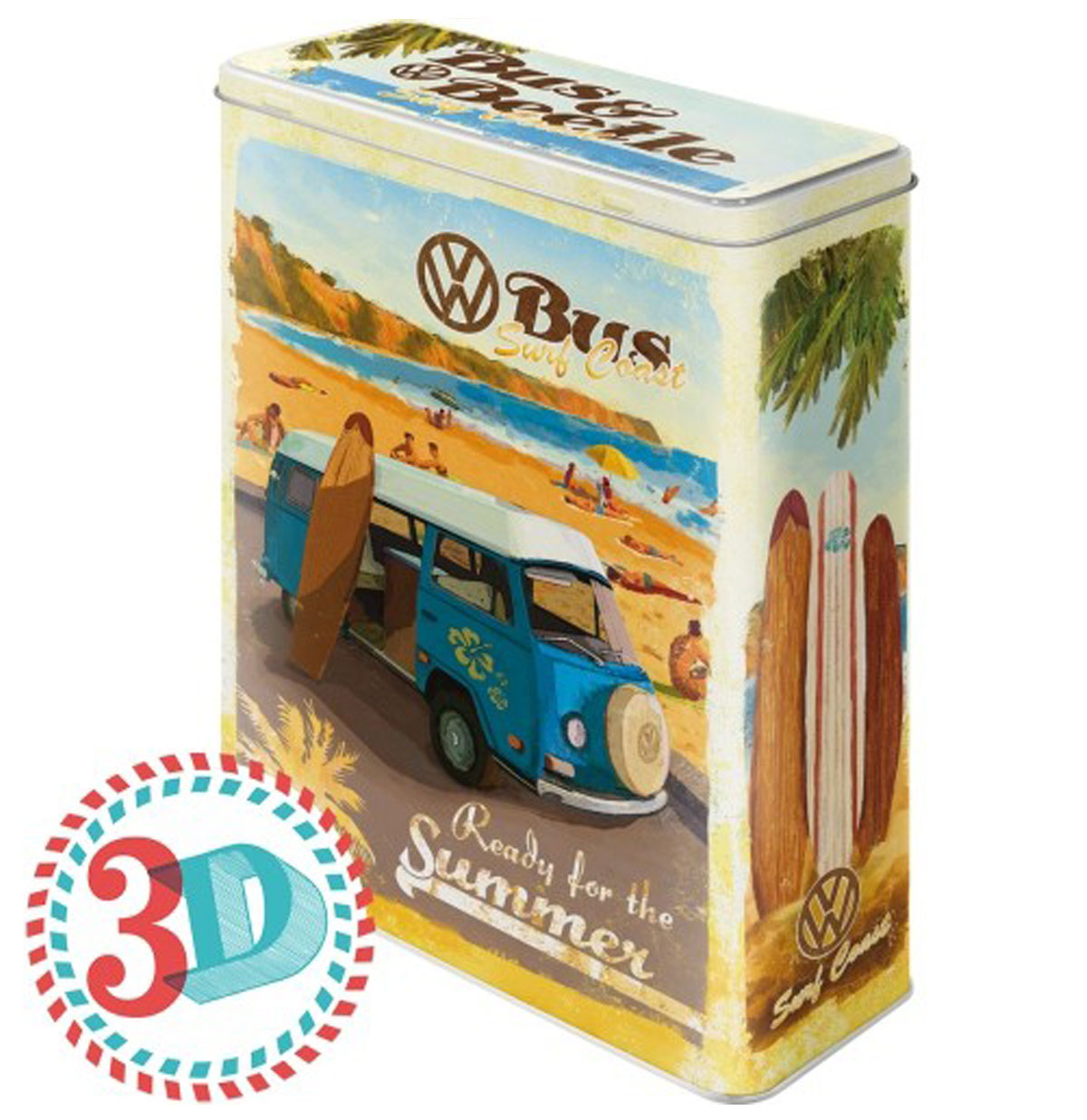 VW Volkswagen Bus & Beetle Surf Coast Tin Box XL
