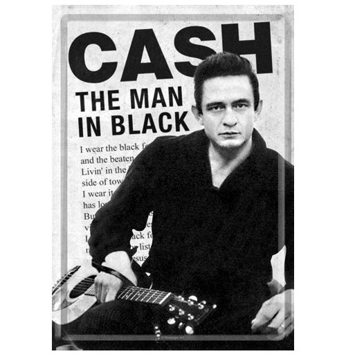 Johnny CashThe Man in Black Metalen Postkaart