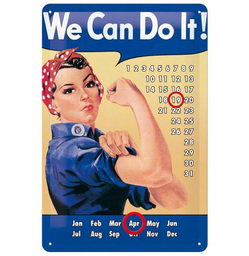 Metalen Plaat 'We can do it!' Kalender 20 x 30 cm