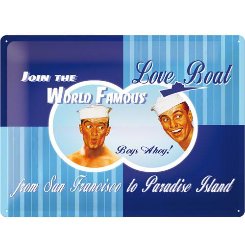 Metalen Plaat 'Love Boat Boys Ahoy!' 30 x 40 cm