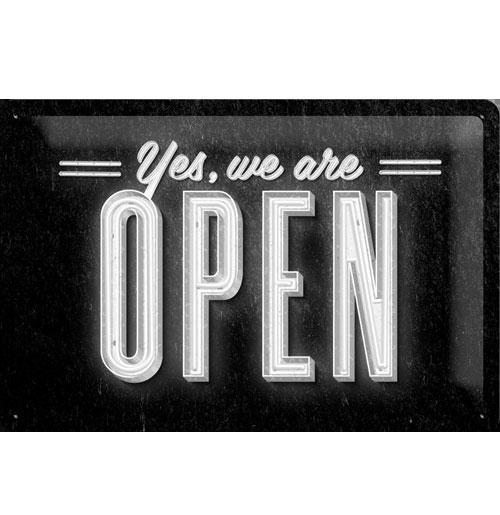 Metalen Plaat Yes, We Are Open 20 x 30 cm