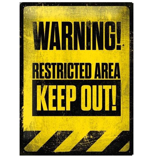 Metalen Plaat Warning Keep Out 30 x 40 cm