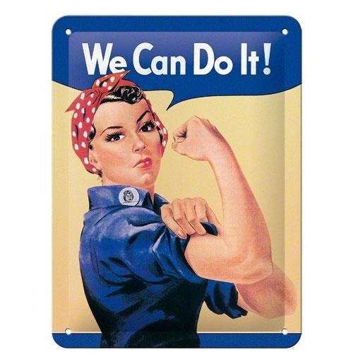 Metalen Plaat 'We can do it!' 15 x 20 cm