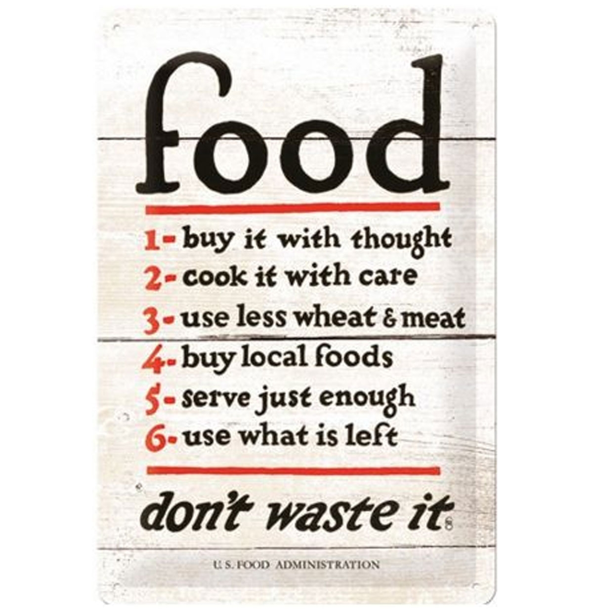 Food Rules Don't Waste It Metalen Bord 20 x 30 cm