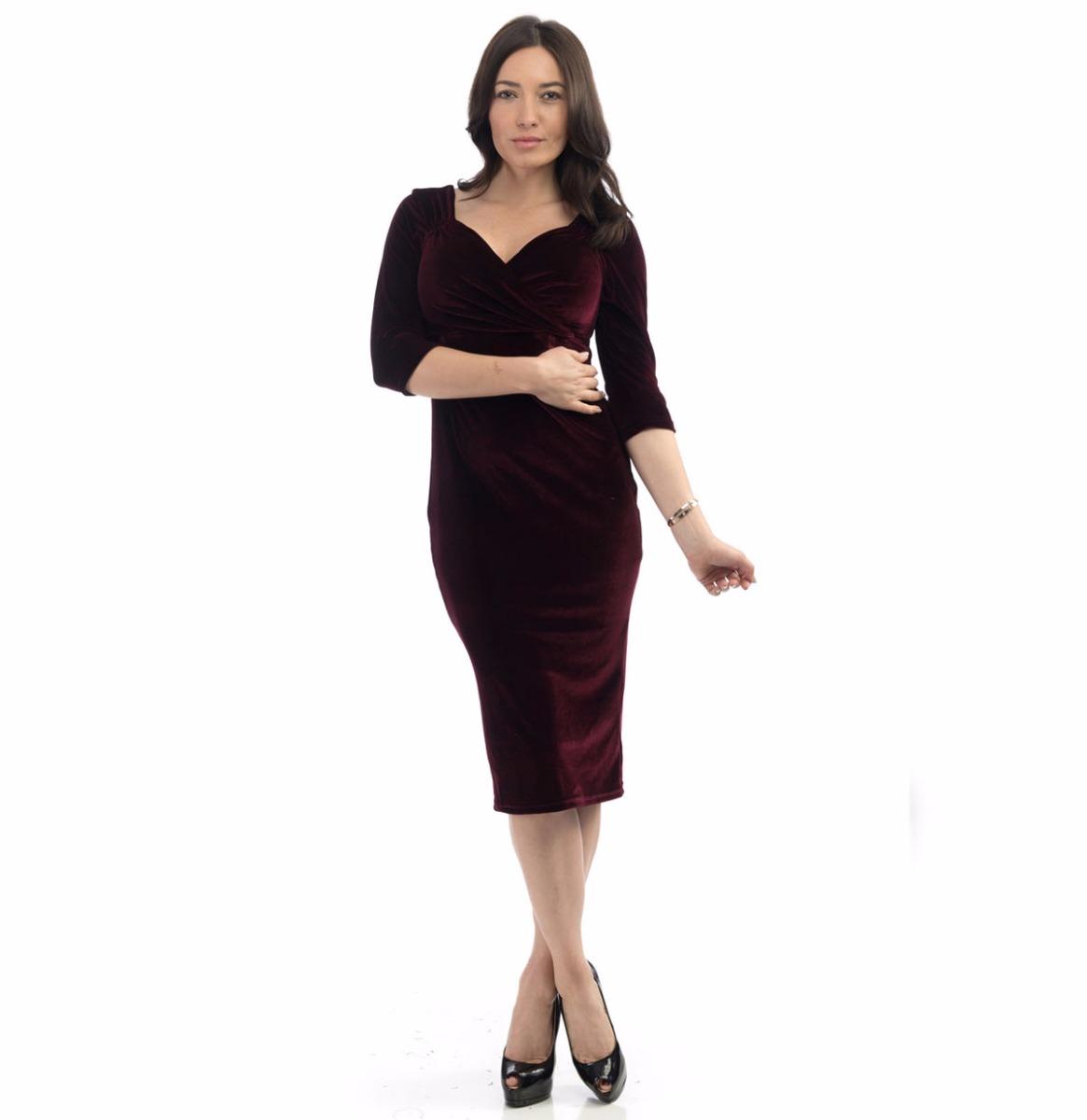 Diva Dress Velvet 3/4 Sleeve Dark Burgundy