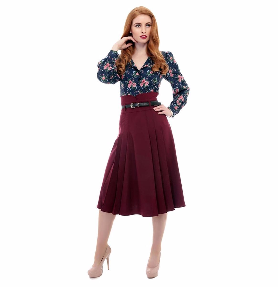 Elsa Flared Skirt Wine