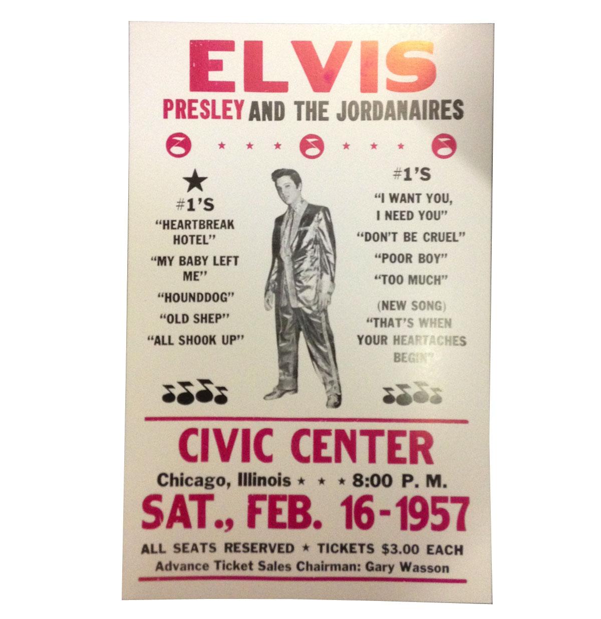 Elvis Presley aankondiging poster Civic Center 1957