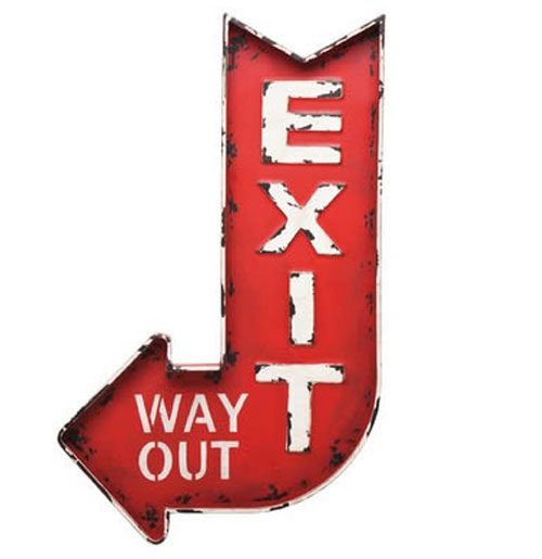 Exit Way Out metalen bord