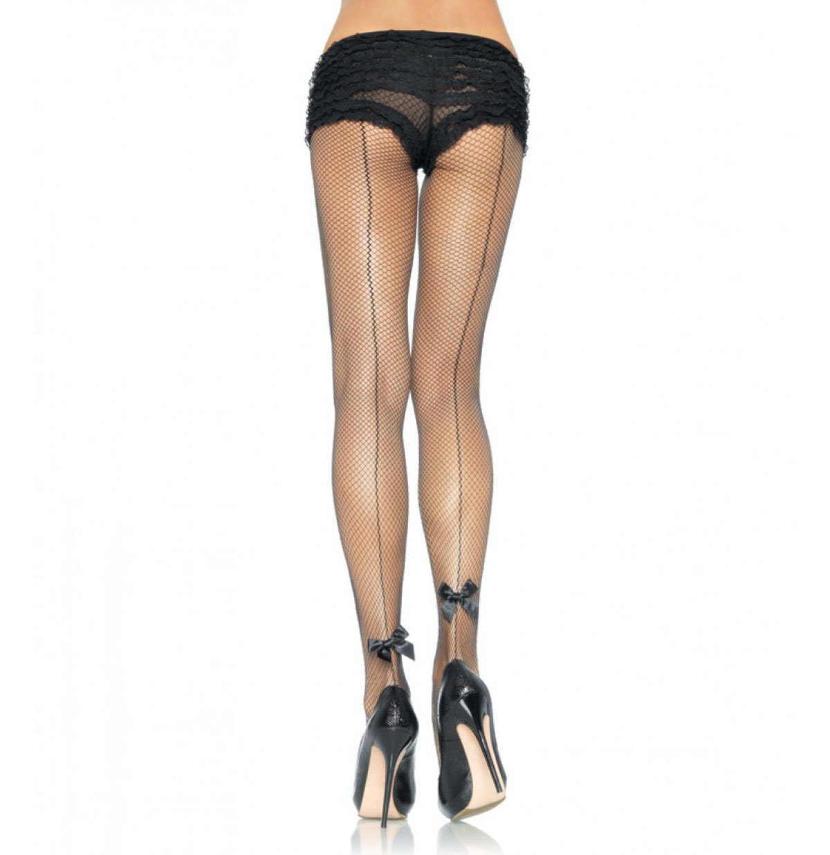 Back Seam Fishnet Pantyhose Bow Accent