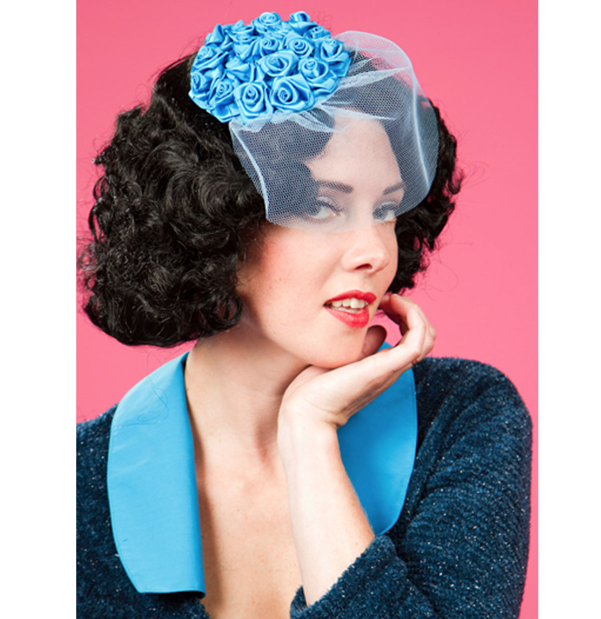 Frederica Kat Fascinator, Turquoise