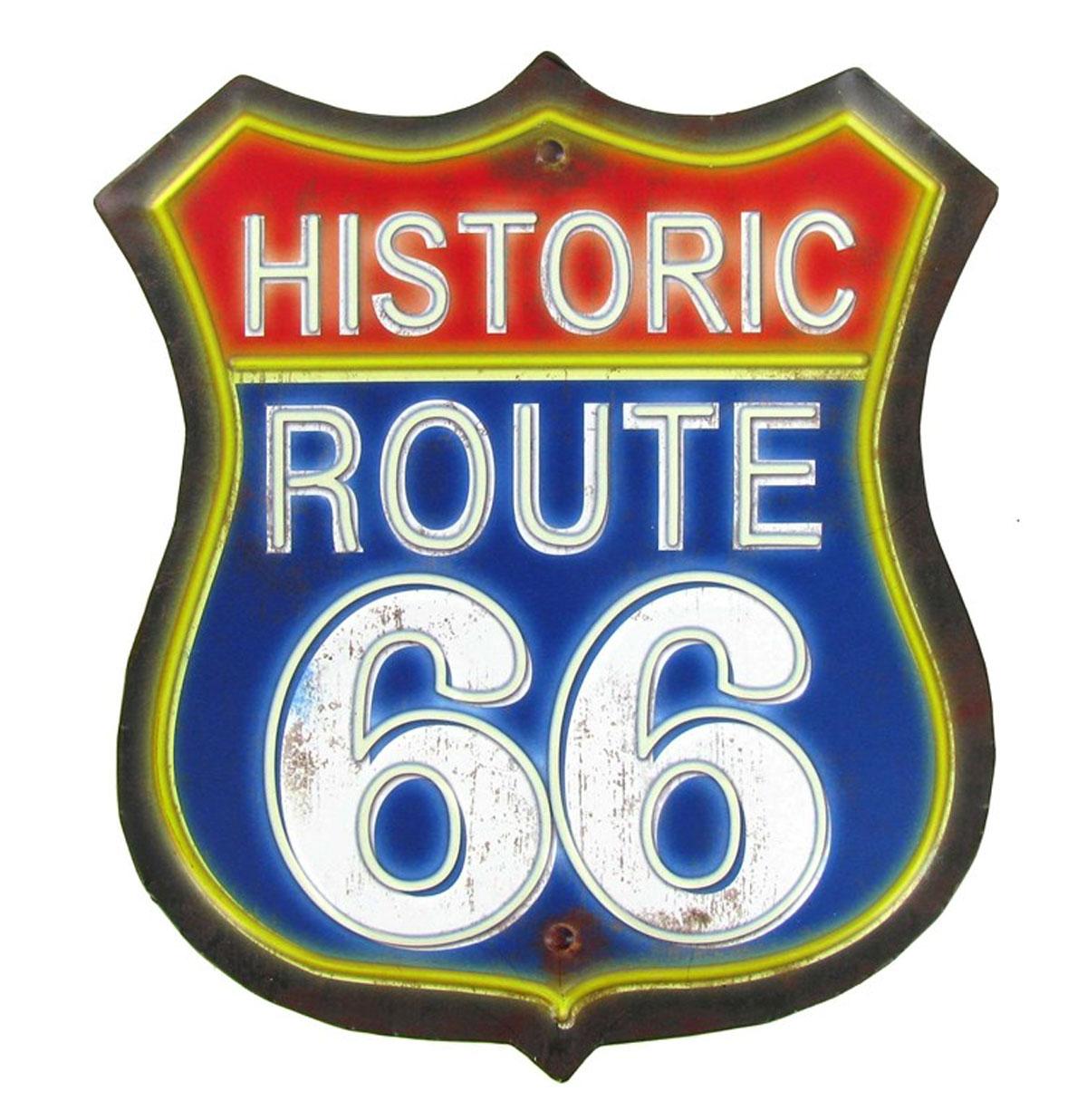 Historic Route 66 Red & Blue Metalen Bord Met Relief