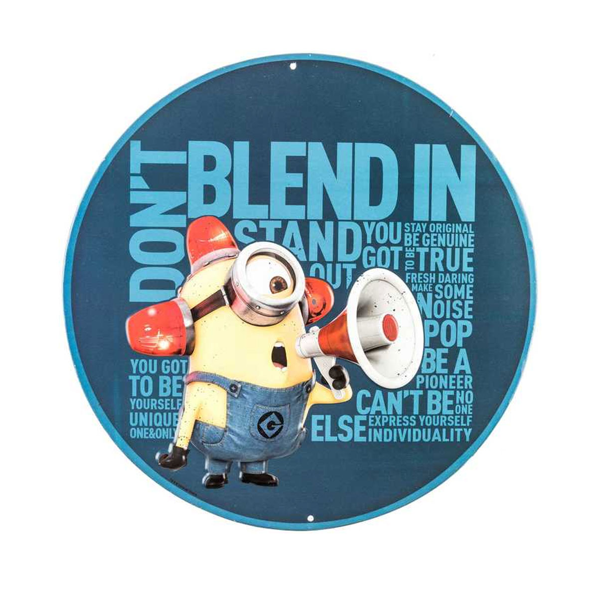Don't Blend In Minion Rond Metalen Bord