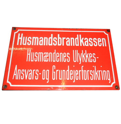 Husmandsbrandkassen DK emaille bord origineel