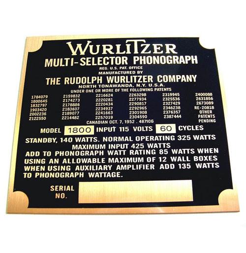 Wurlitzer 1800 typeplaatje achterzijde kast