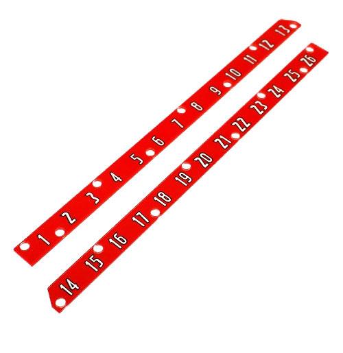 Wurlitzer 1700 nummer strips boven drukknoppen