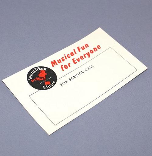 Wurlitzer exploitanten kaartje 63x110 mm