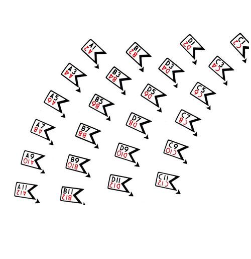 Wurlitzer 1800 sticker letters en nummers voor platenmagazijn