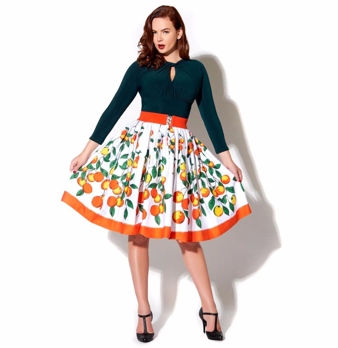 Jenny Skirt Orange Print