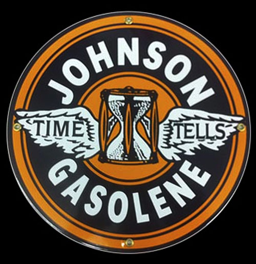 Johnson Gasolene Emaille Logobord