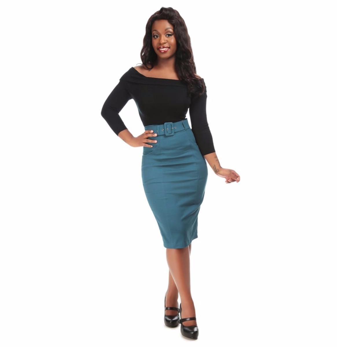 Kayleigh Pencil Skirt Teal Blue