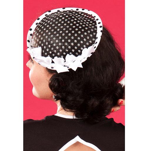 Lexis Lou Dot Fascinator, Black and White