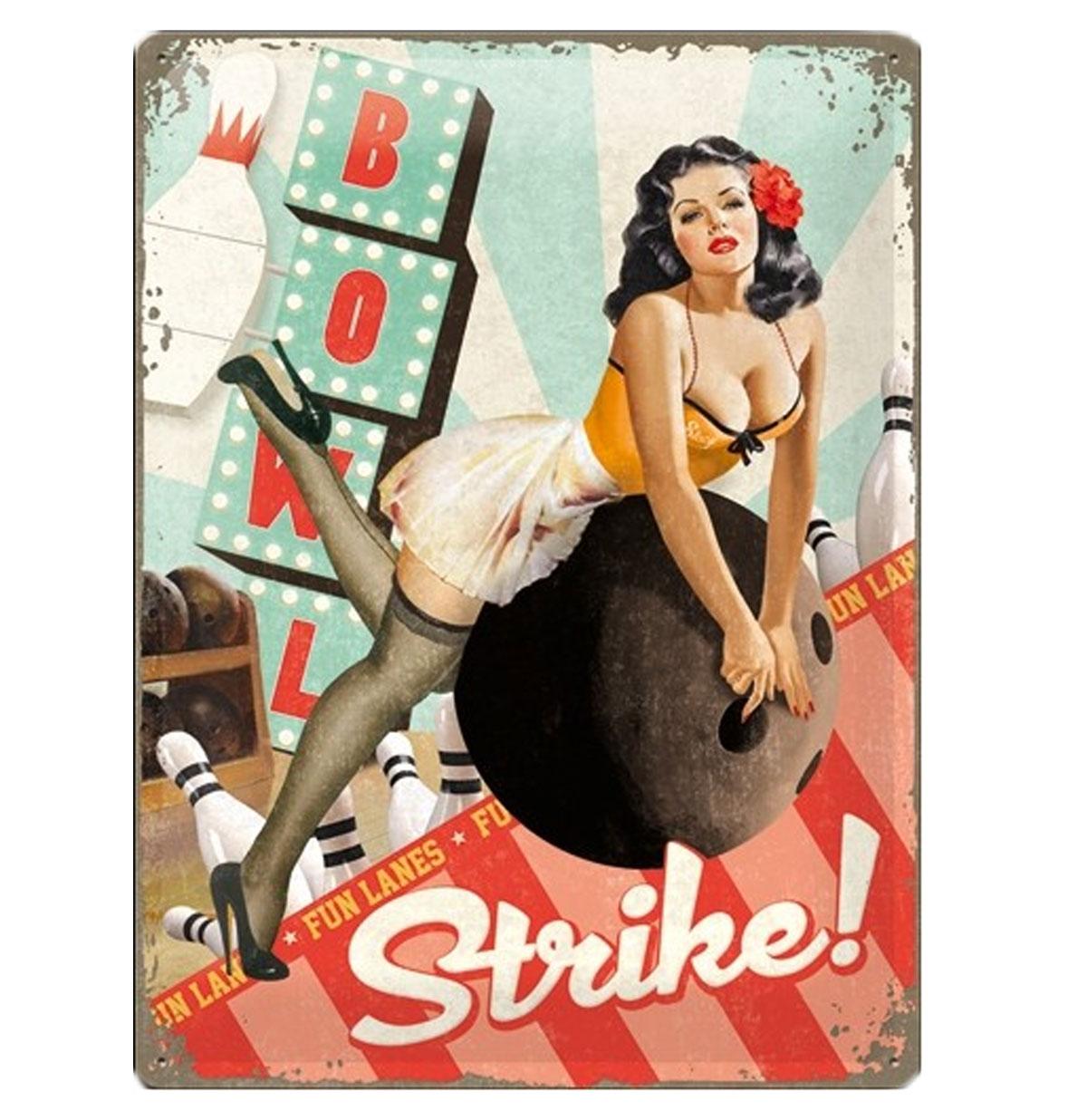 Metalen Plaat Pin-Up Strike! 30 x 40 cm