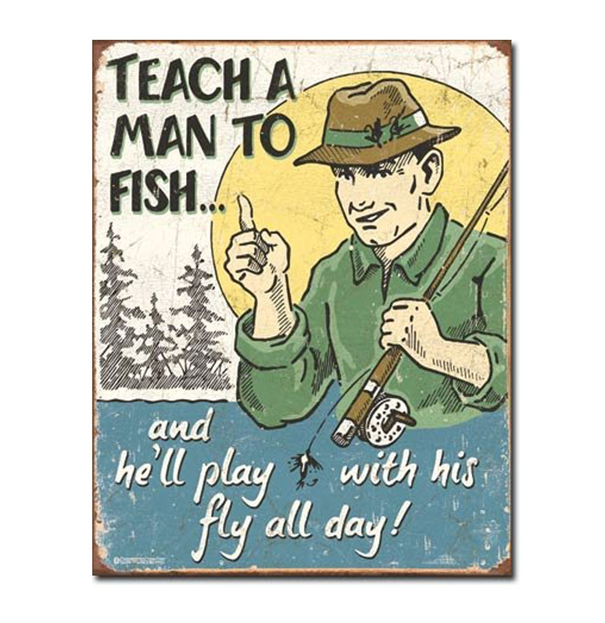 Teach a Man to Fish Metalen Bord