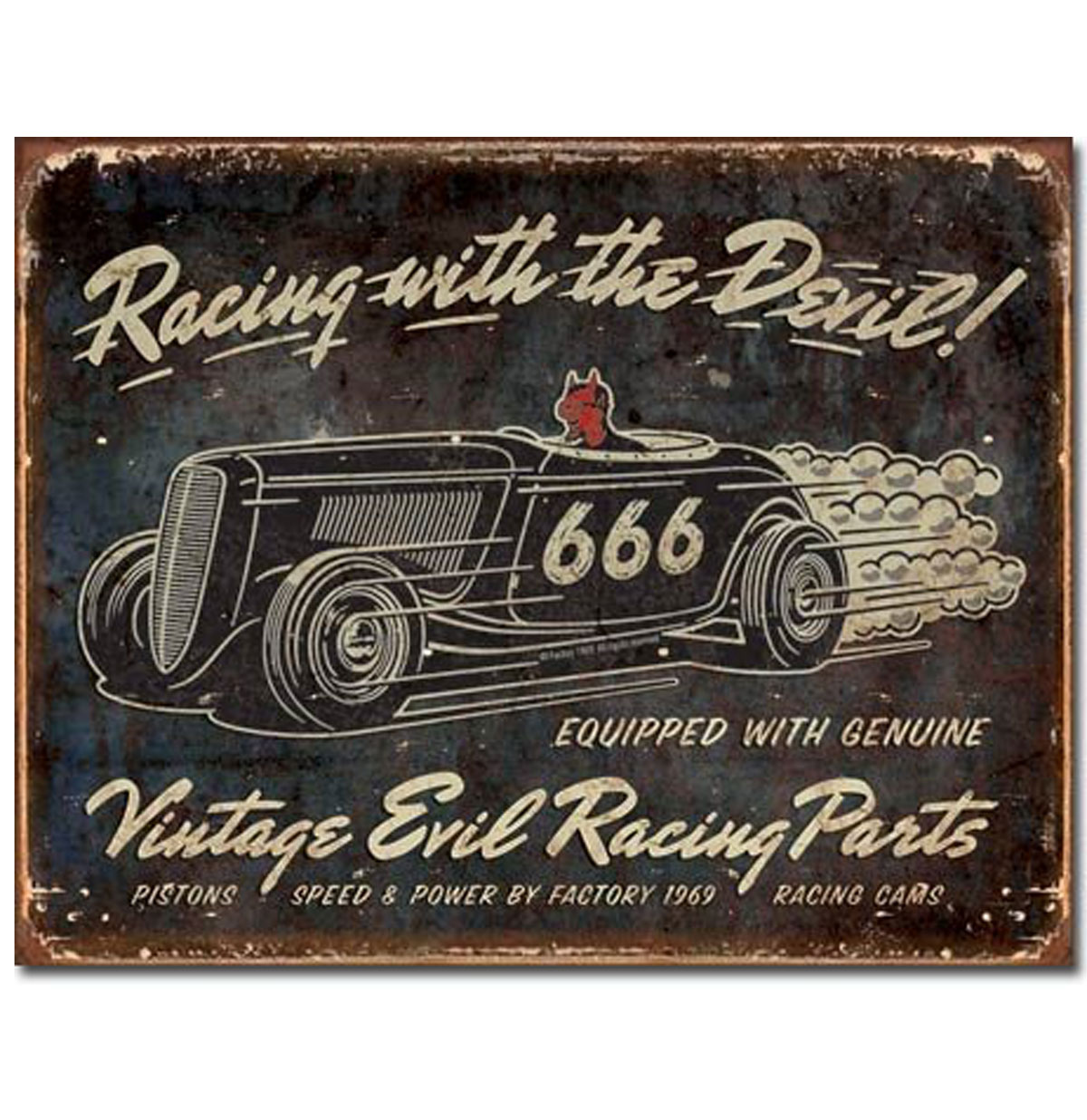 Vintage Evil Speed Shop 666 Racing With The Devil Metalen Bord