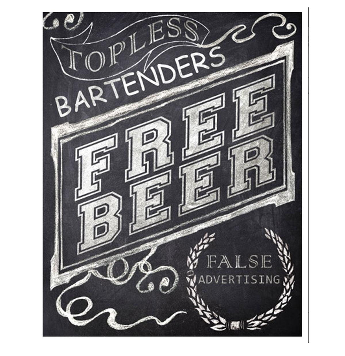 Topless Bartenders, Free Beer, False Advertising Metal Sign