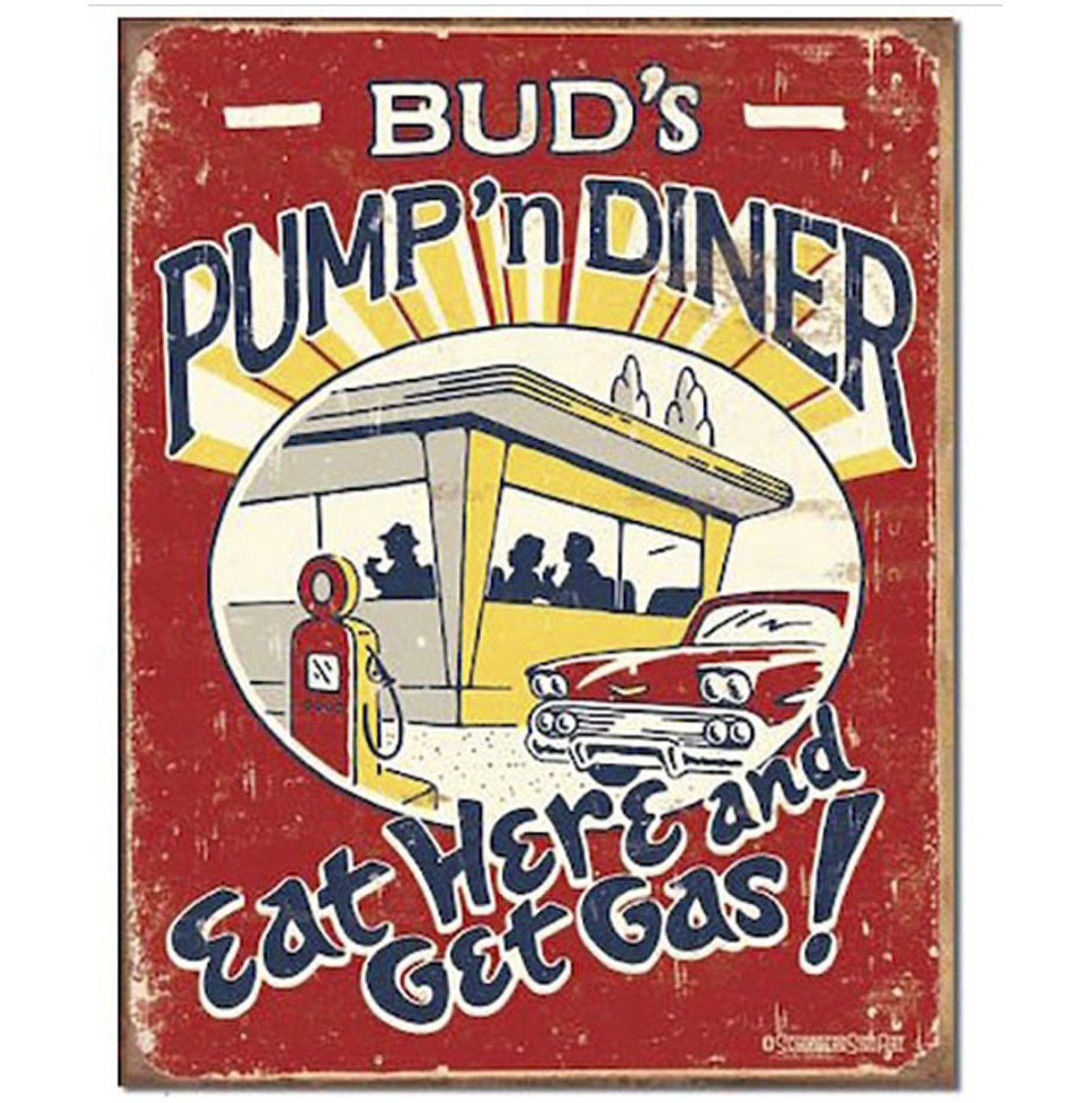 Metalen Poster - Bud's Pump 'n Diner Eat Here Get Gas
