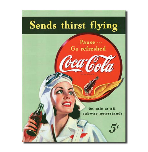 Metal Poster Coca-Cola Sends Thirst Flying