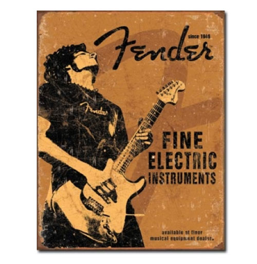 Metalen Poster - Fender Fine Electric Guitars