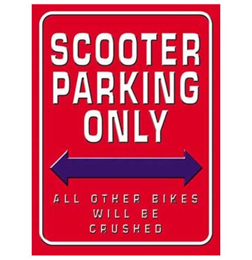 Metalen Bord - Scooter Parking Only