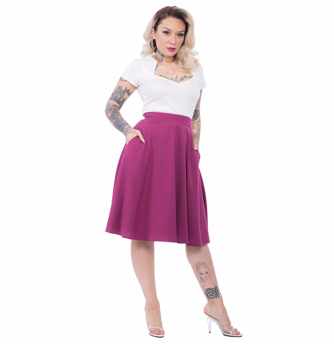 Pocket High Waist Thrills Skirt Magenta