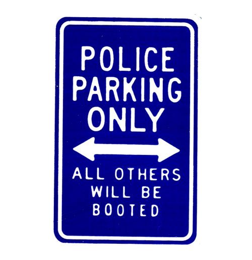 Police Parking Only Bord