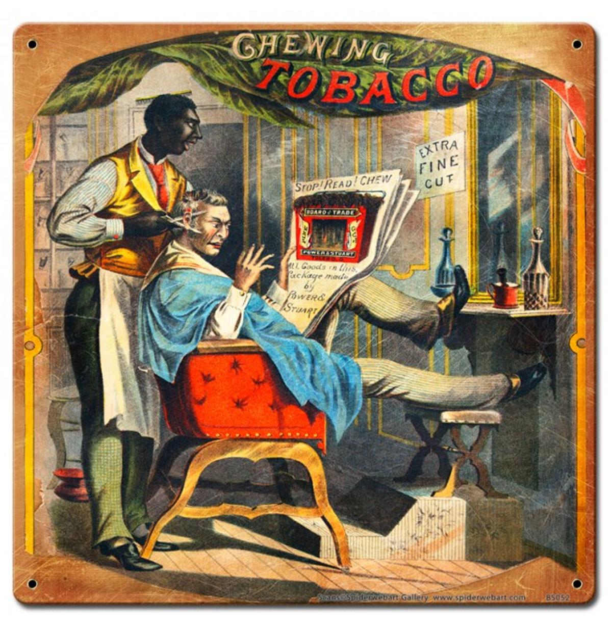 Chewing Tobacco Barber Shop Zwaar Metalen Bord 30 x 30 cm