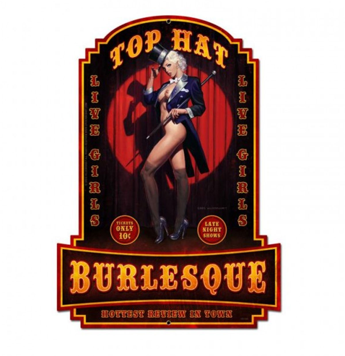 Top Hat Burlesque Pin-Up Zwaar Metalen Decoratie Bord Greg Hildebrandt