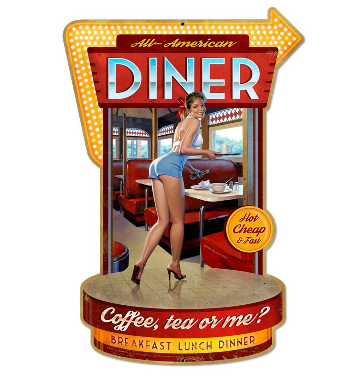 All American Diner Pin Up Zwaar Metalen Bord 45 x 30 cm