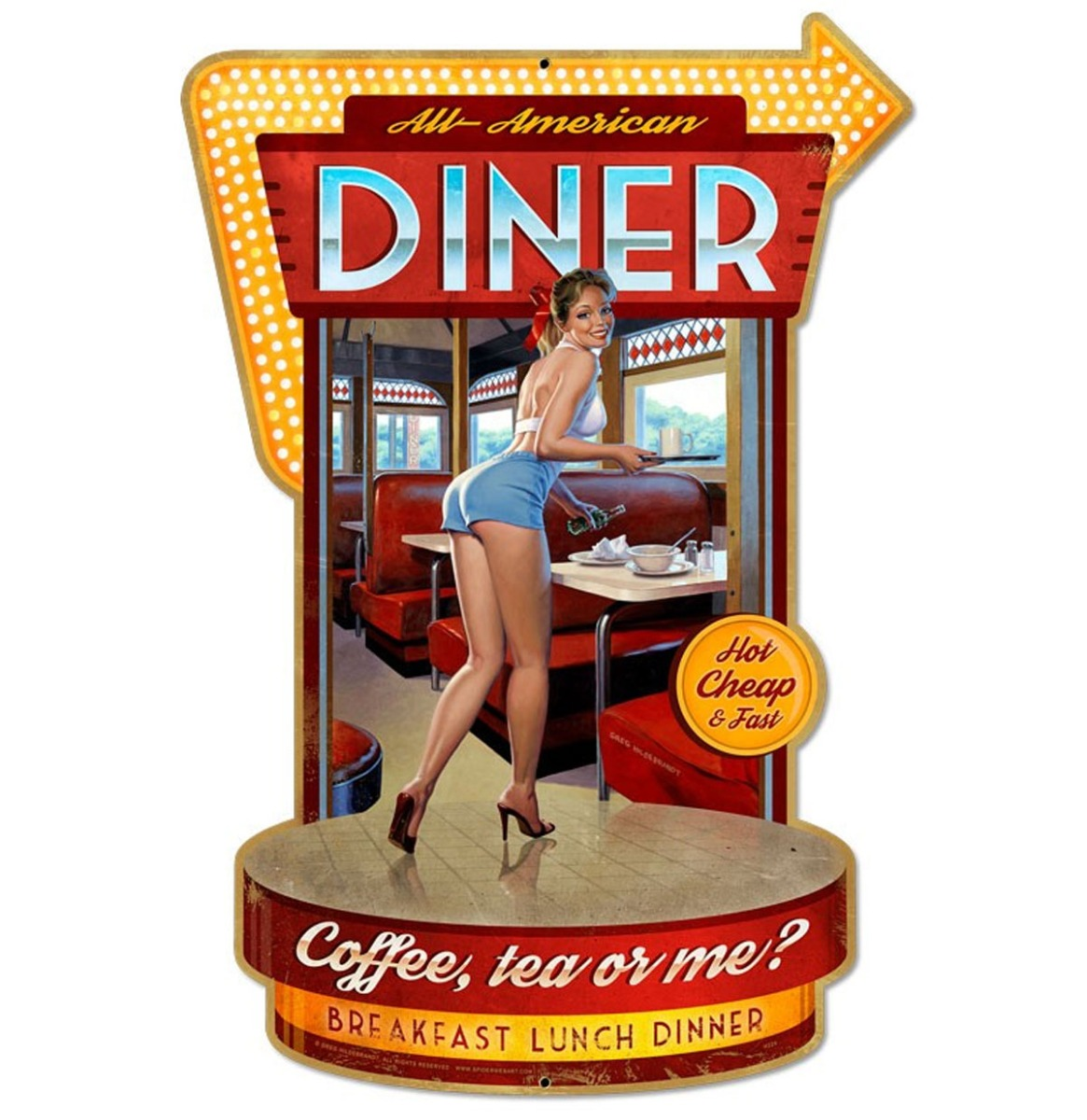 Diner Pin-Up Zwaar Metalen Bord 76 x 51 cm