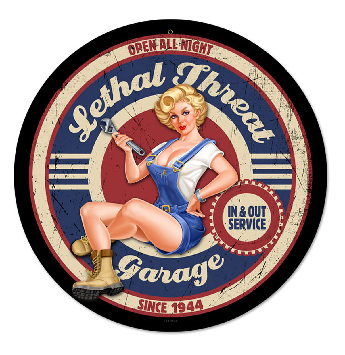 Lethal Threat Garage Pin-Up Zwaar Metalen Bord 35,5 cm