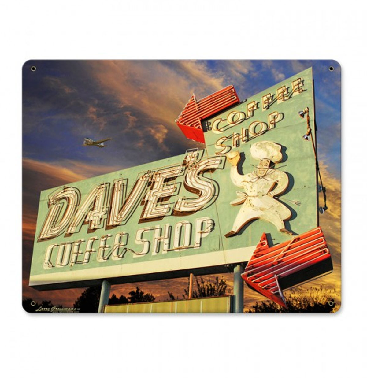 Dave's Coffee Shop by Larry Grossman Zwaar Metalen Bord