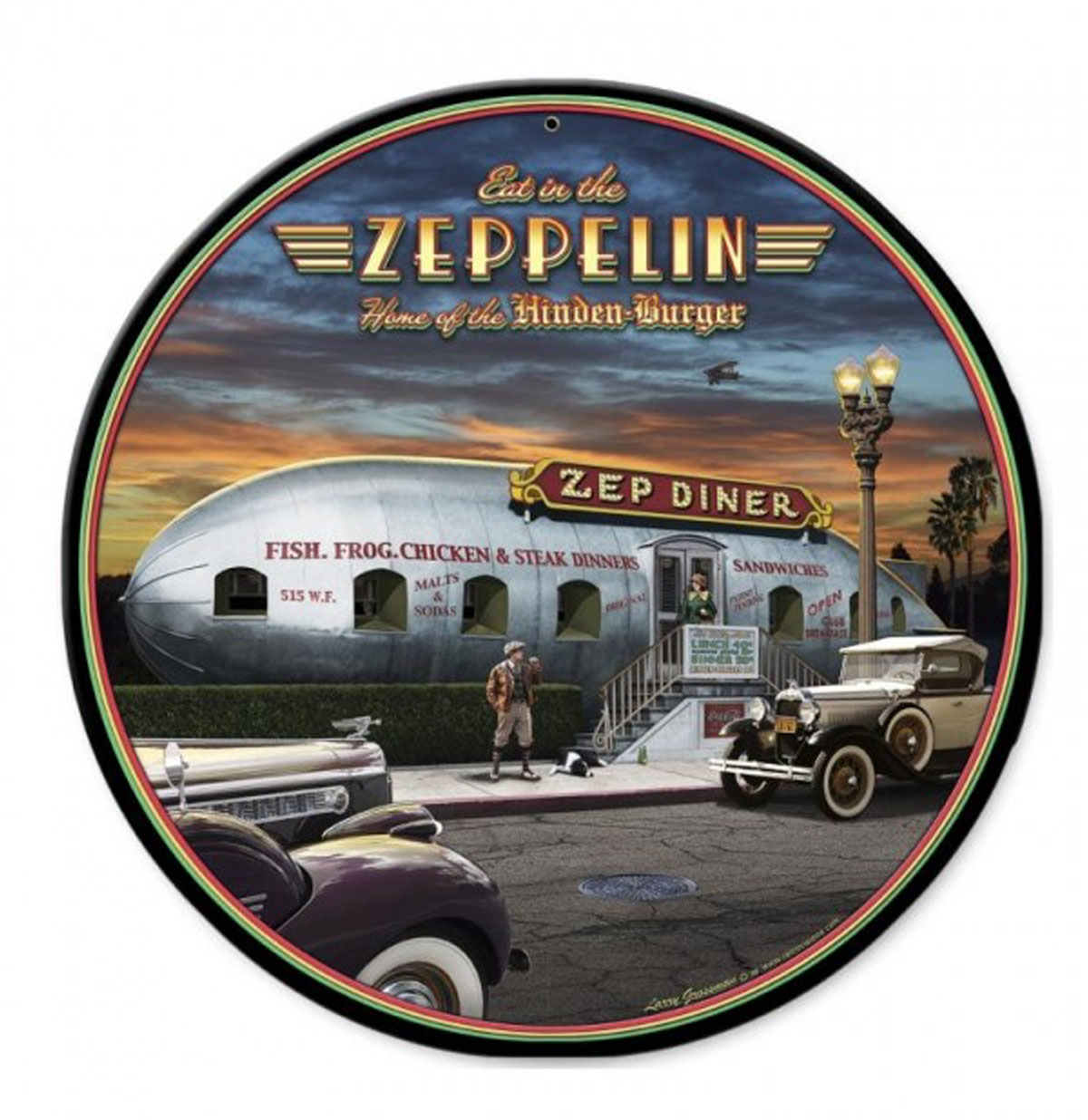 Eat in the Zeppelin 'Zep Diner' Zwaar Metalen Bord XL