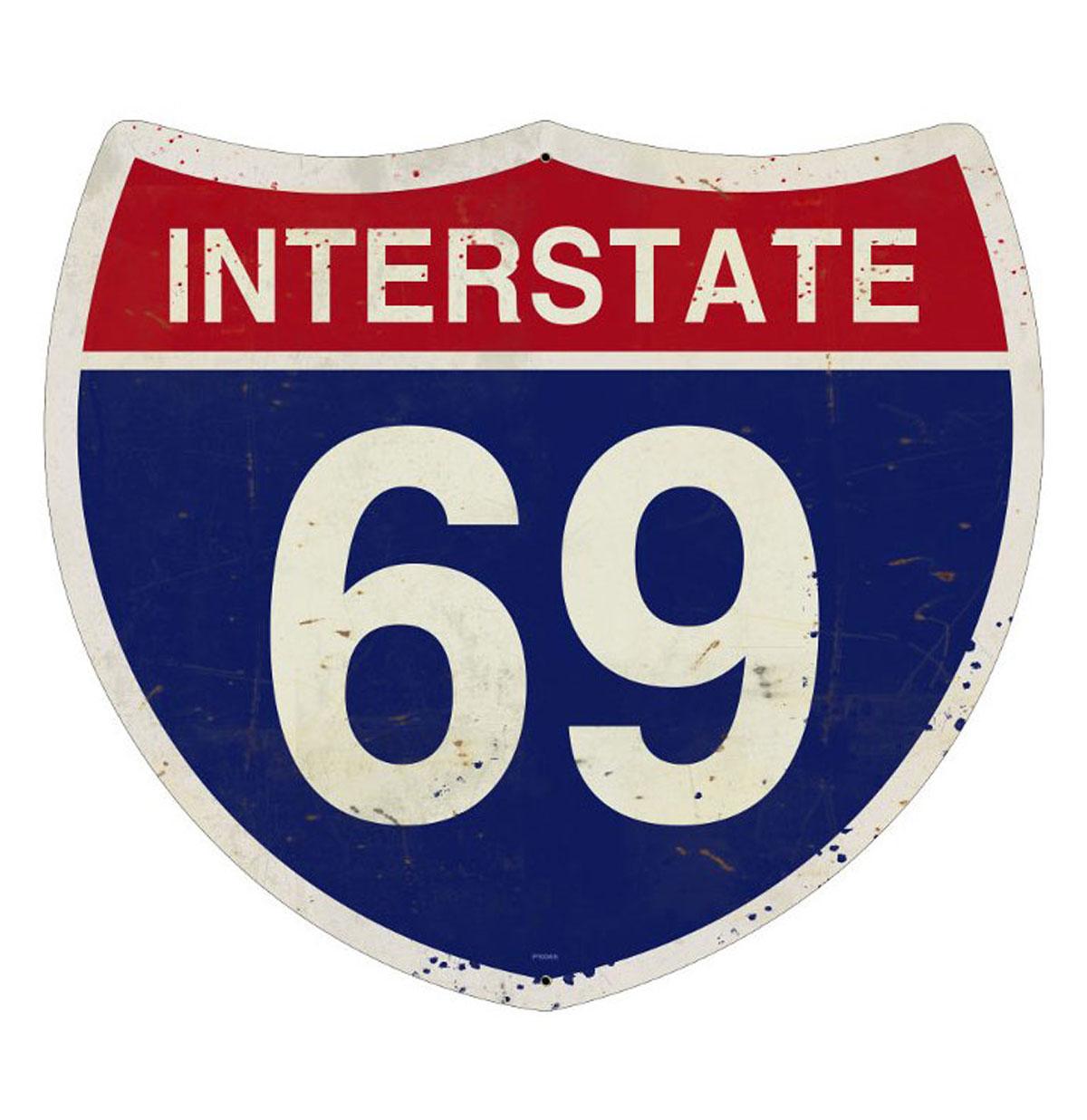 Interstate 69 Highway Heavy Gauge Metal Sign