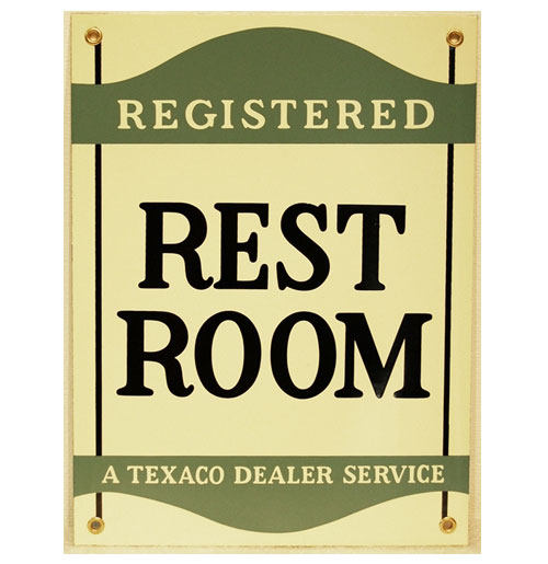 Texaco Registered Rest Room Emaille Bord